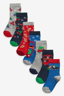7 Pack Cotton Rich Christmas Transport Socks (Younger)