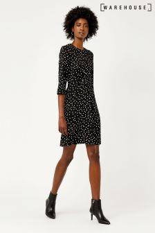 Warehouse Black Spot Print Crepe Dress