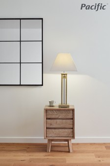 Clifton Vintage Sand Wood Column Table Lamp by Pacific Lifestyle