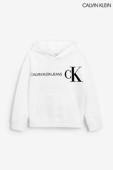 Calvin Klein White Reflective Logo Hoodie