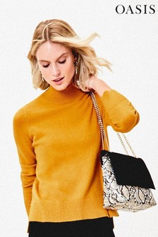 Oasis Yellow Felicity Button Neck Jumper