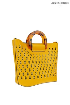Accessorize Yellow Lucy Cut Out Handheld Shopper Bag