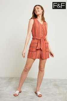 F&F Tan Stripe Linen Button Playsuit