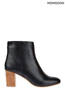 Monsoon Black Leather Stacked Heel Ankle Boots