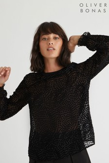 Oliver Bonas Black Textured Spot Long Sleeve Top
