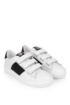Moncler Enfant Moncler White & Black Leather Trainers
