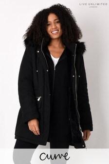 Live Unlimited Curve Black Parka Jacket With Faux Fur Hood