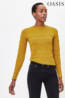 Oasis Yellow Tessa Textured Jumper