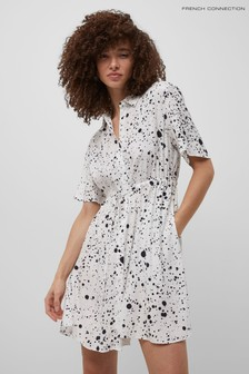 French Connection White Droplet Drape Shirt Dress