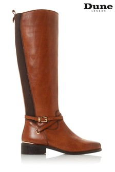 Dune London True Tan Leather Double Strap Knee High Boots