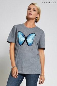 Harpenne T-Shirt mit schimmerndem Schmetterling, Grau