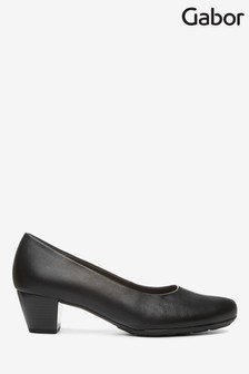 Gabor Black Brambling Leather Court Shoes