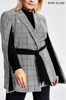River Island Wide Black Watch Check Westwood Cape