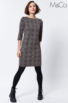 M&Co Brown/Pink Check Jacquard Jersey Shift Dress