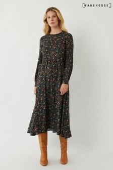 Warehouse Black Ditsy Paisley Tier Midi Dress