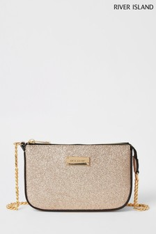 River Island Rose Gold Glitter Underarm Bag