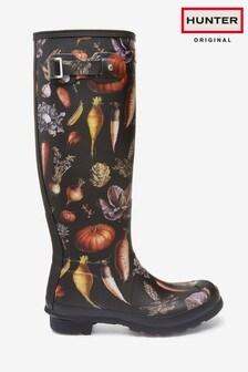 Hunter Womens Black Original Tall Multi Veg Print Wellington Boots