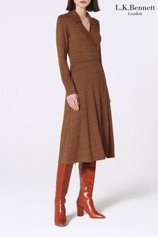L.K. Bennett Brown Enya Print Dress