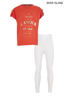 River Island Red Lamour Chain T-Shirt Set