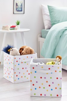 2 Pack Polka Dot Storage Cubes