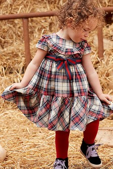 Monsoon Children Red Baby Torianna Check Dress & Tights