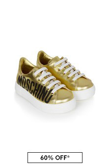 Moschino Kids Girls Gold Leather Trainers
