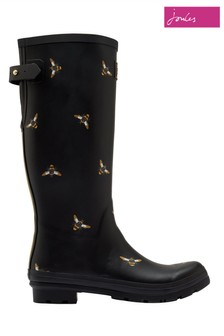 Joules Black Print Welly Boots With Adjustable Back Gusset
