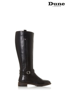 Dune London Tylar Black Leather Double Strap Knee High Boots