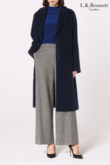 L.K. Bennett Blue Finsbury Wool Coat