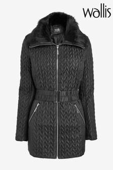 Wallis Black Faux Fur Collar Short Quilted Coat