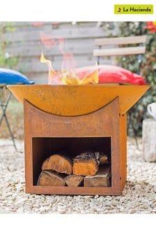 Fasa Oxidised Firepit with Log Store By La Hacienda