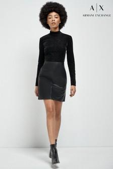 Armani Exchange Velvet Eco Leather Dress