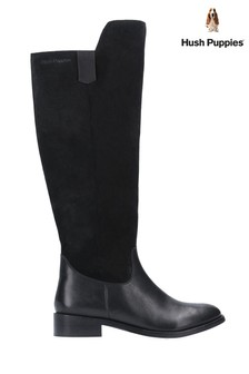 Hush Puppies Black Alani Zip Up Long Boots