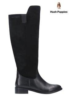 Hush Puppies Black Alani Zip Up Long Boots