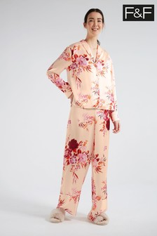 F&F Black Multi V Satin Hero Print Long Pyjamas