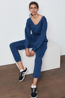 Soft Stretch Long Sleeve Jersey Denim Jumpsuit
