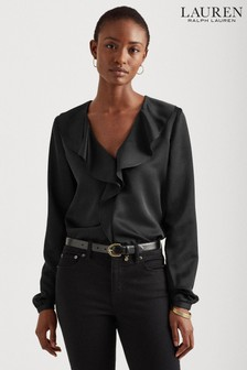 Lauren Ralph Lauren® Black Ruffle Belvirn Blouse