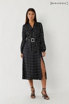 Warehouse Black Pussybow Spot Dress