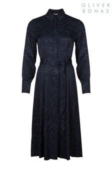 Oliver Bonas Blue Zebra Jacquard Dress