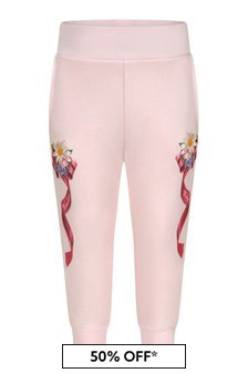 Monnalisa Baby Girls Pink Cotton Flower Bow Joggers