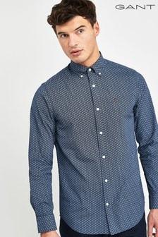 GANT Blue/Navy Micro Print Regular Shirt