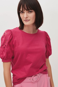 Broderie Puff Sleeve Top
