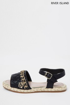 River Island Black Quilted Chain Sandals
