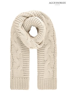 Accessorize Natural Bea Oversized Cable Scarf