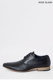 River Island Black Rixone Textured Formal Shoes