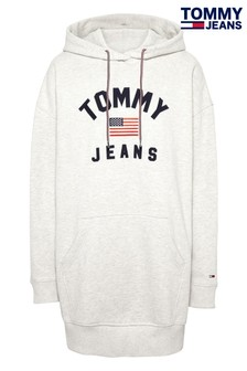 Tommy Jeans Grey Flag Logo Hoodie Dress