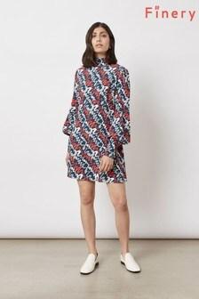 Finery London Blue Irena High Neck Suzy Swiggle Print Dress
