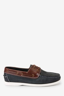 Formal Deck Loafer Lace Up Shoes Mens Leather Casual Holiday Slip On Boat