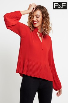 F&F Red Ruffle Neck Crystal Pleat Blouse