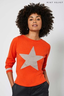 Mint Velvet Orange Metallic Star Jumper